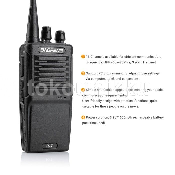 Baofeng Handy Talky HT Single Band 3W 16CH UHF - BF-R7 - Black