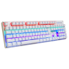 Full Mechanical Wired AULA 2010S White Gaming Keyboard - Blue Switch - Rainbow LED Light